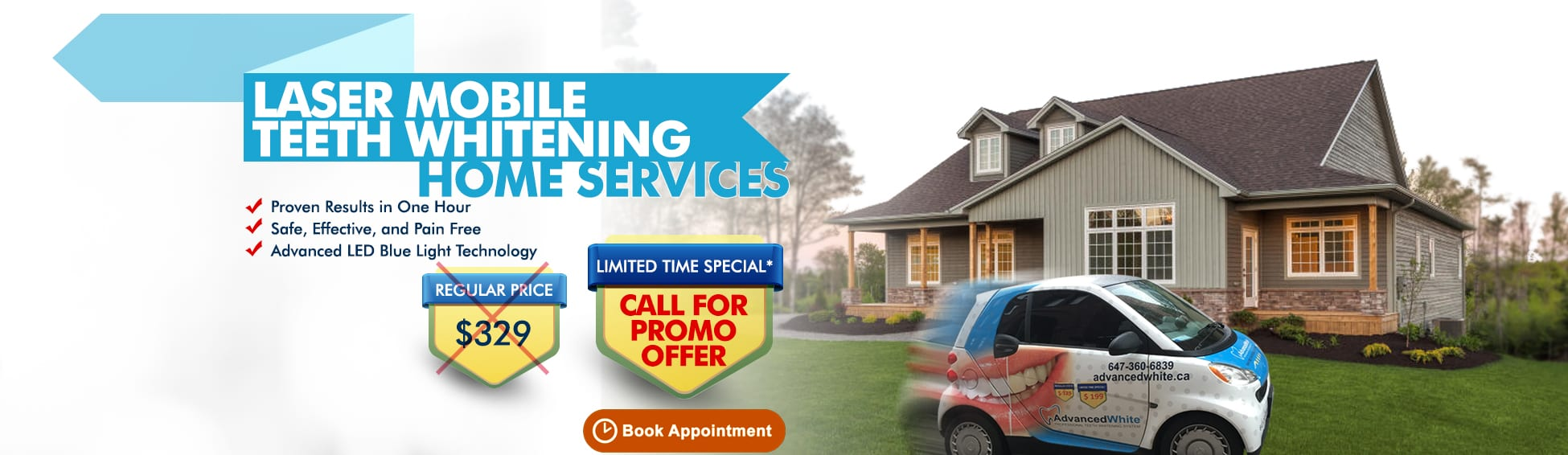 Laser Mobile Teeth Whiting Home Services– Call For Promo Offer