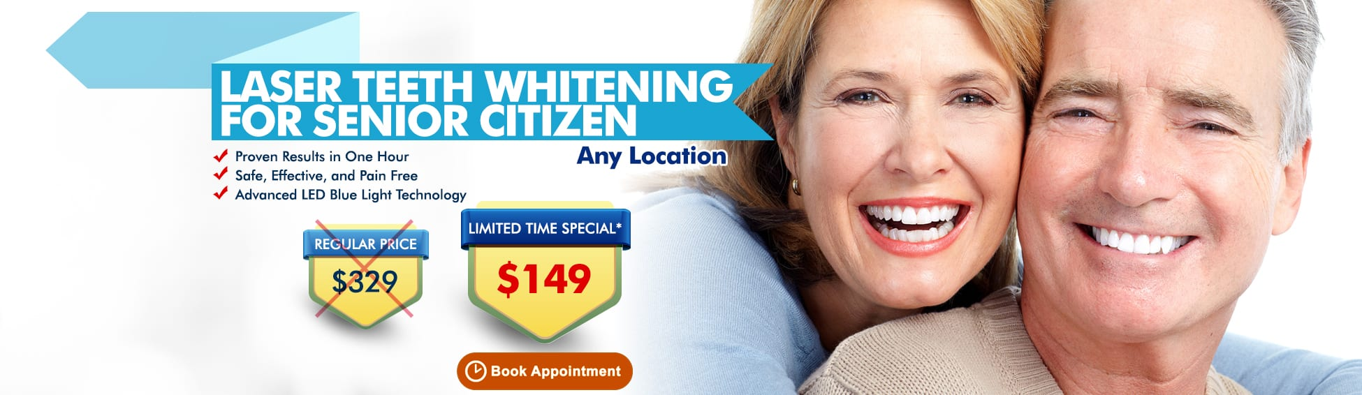 Laser Teeth Whitening For Senior Citizen – Any Location - $199 $149